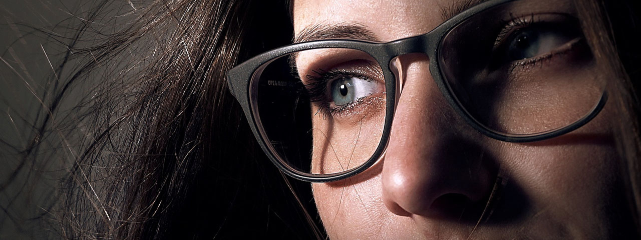 Closeup of Woman in eyeglasses, Boulder, CO
